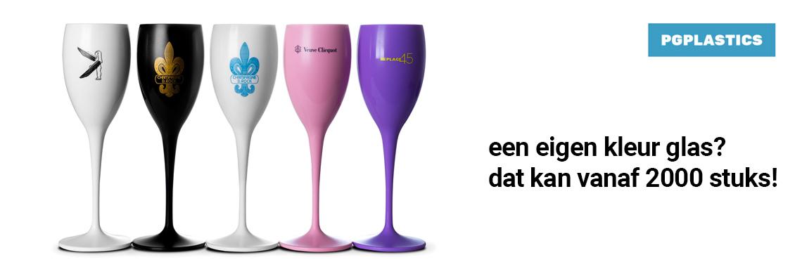 Herbruikbare Champagneglazen bedrukt met uw eigen logo