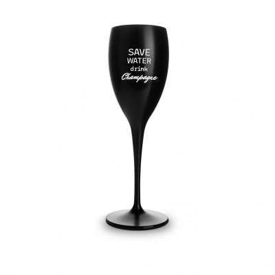 6x Zwarte Plastic Champagneglazen 17cl Save Water Drink Champagne Onbreekbaar