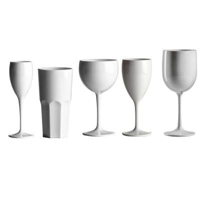 50x Plastic Glazen Wit PC Onbreekbaar Lounge