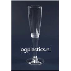 100 x Plastic Champagneglazen 1-Delig 0.15L (PS)