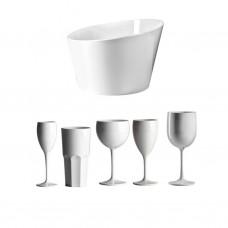 30x Plastic Glazen Wit PC Onbreekbaar Pool Lounge