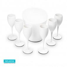 6x Witte Plastic Champagneglazen en 1x ijsemmer | Cadeau Set | Mark I