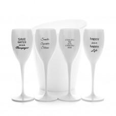 4x Witte Plastic Champagneglazen 17cl met Quotes en Ijsemmer