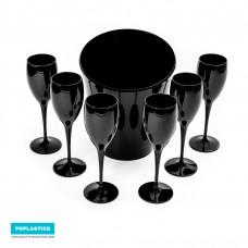 6x Zwarte Plastic Champagneglazen en ijsemmer | Cadeau Set | Mark I